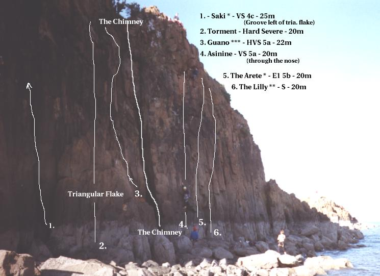 [Topo (climbing diagram) for Hawkcraig Sea Cliff]